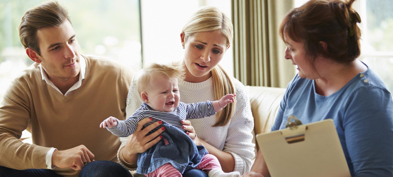 family with nurse