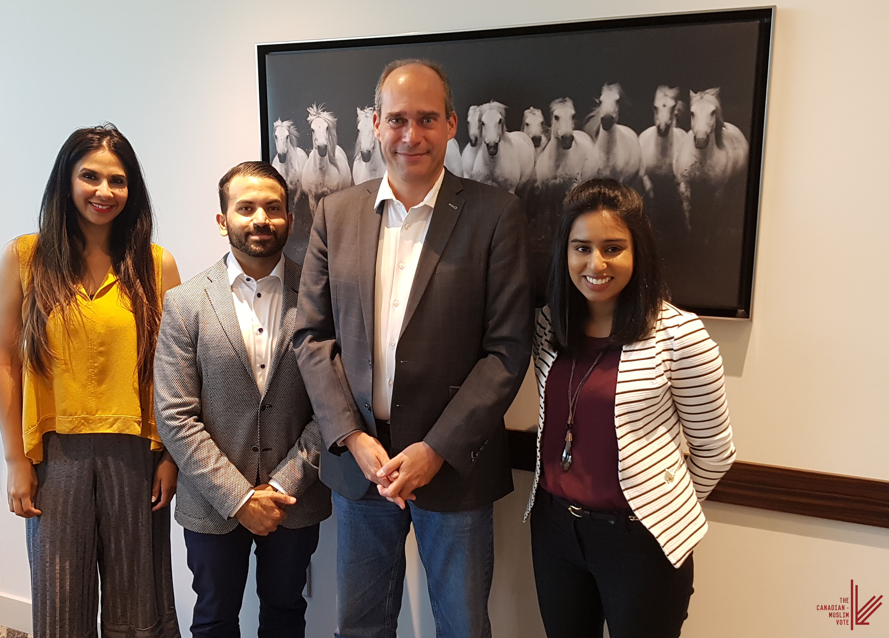 Left to Right: Muneeza Sheikh (Director of Communications), Ali Ladha (Volunteer), Guy Caron (MP) and Mariam Rajabali (Communications and Project Coordinator)