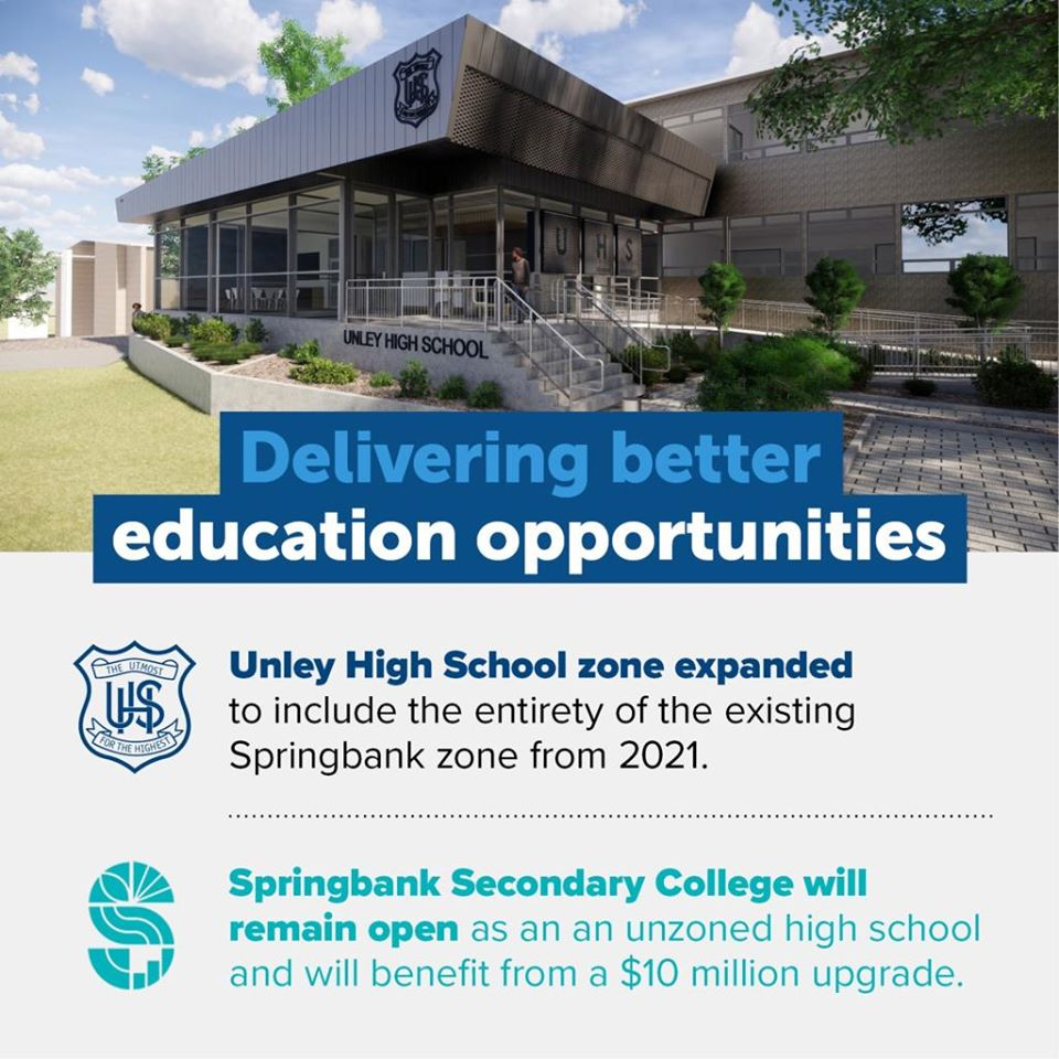 Great news! Unley zone to expand and Springbank to remain to open