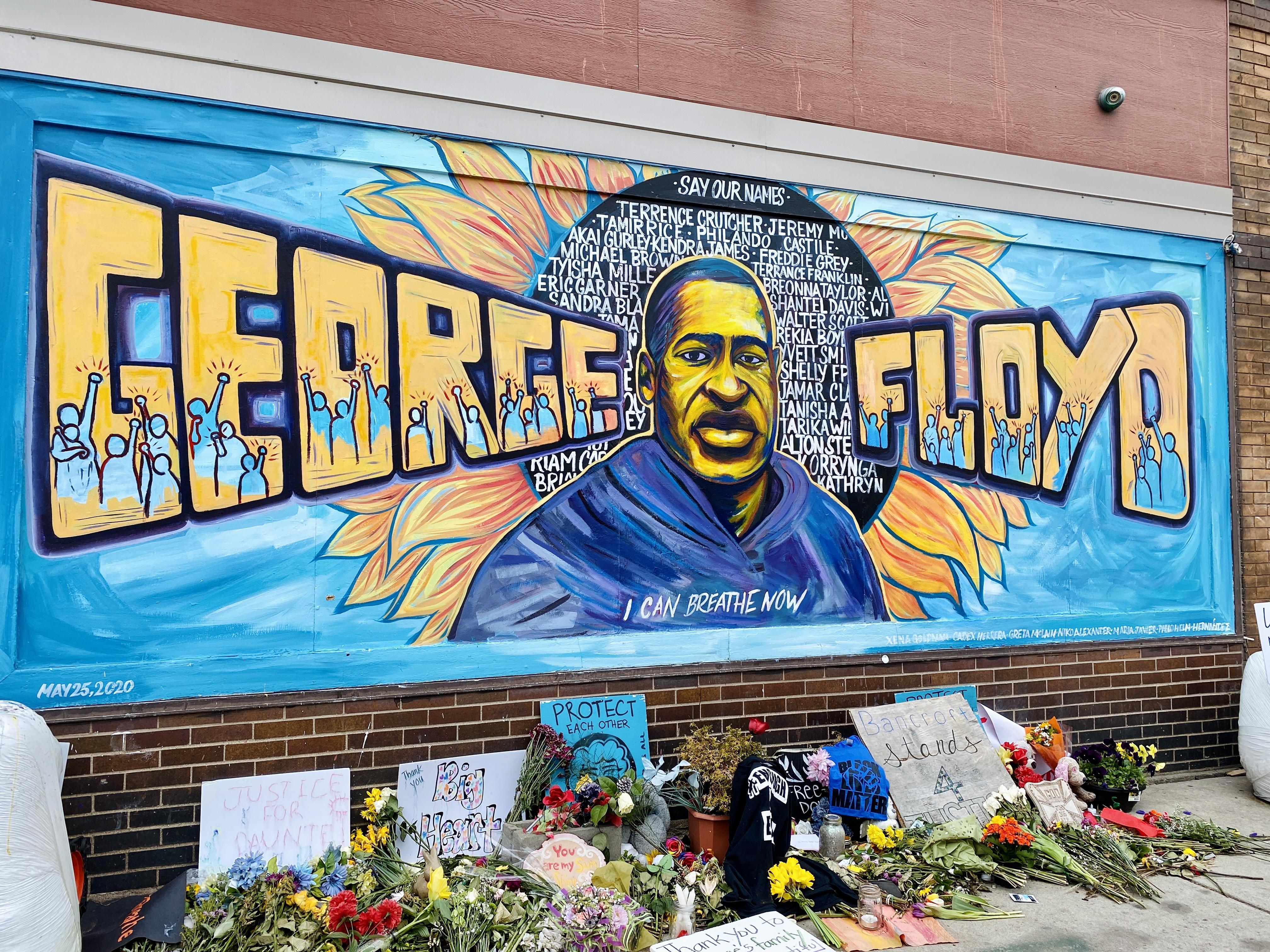 Mural of George Floyd at the memorial in Minneapolis