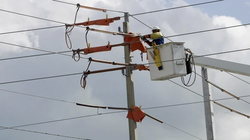 Utility company employee working on power lines