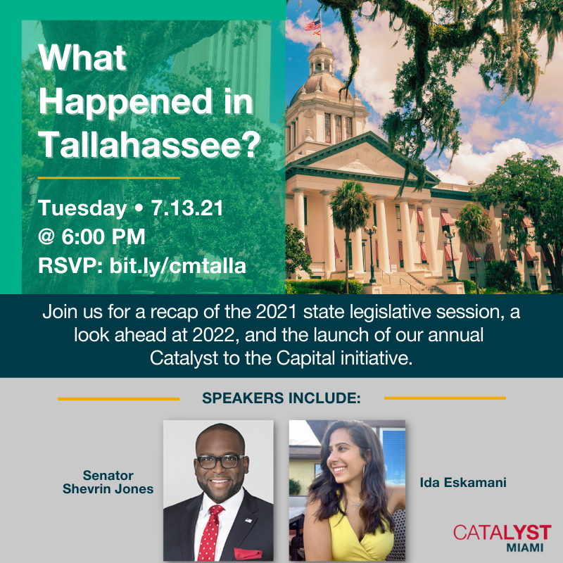 Flyer with event information and photos of speakers, Ida Eskamani and Shevrin Jones