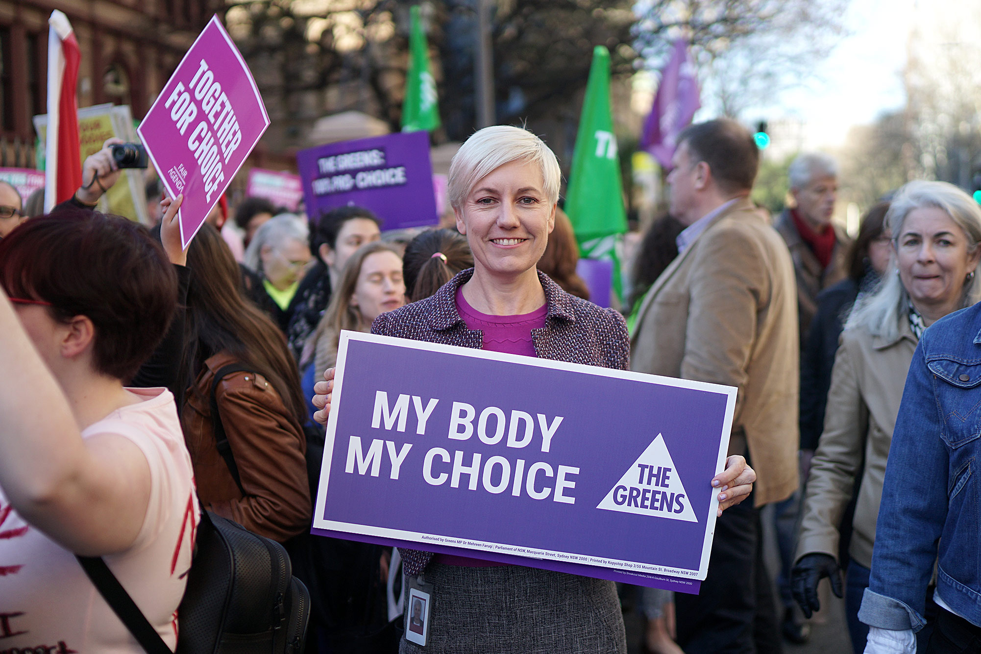 Cate campaigning for a woman's right to choose.