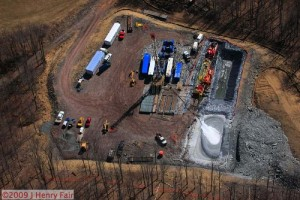 fracking site containment pond overflowing