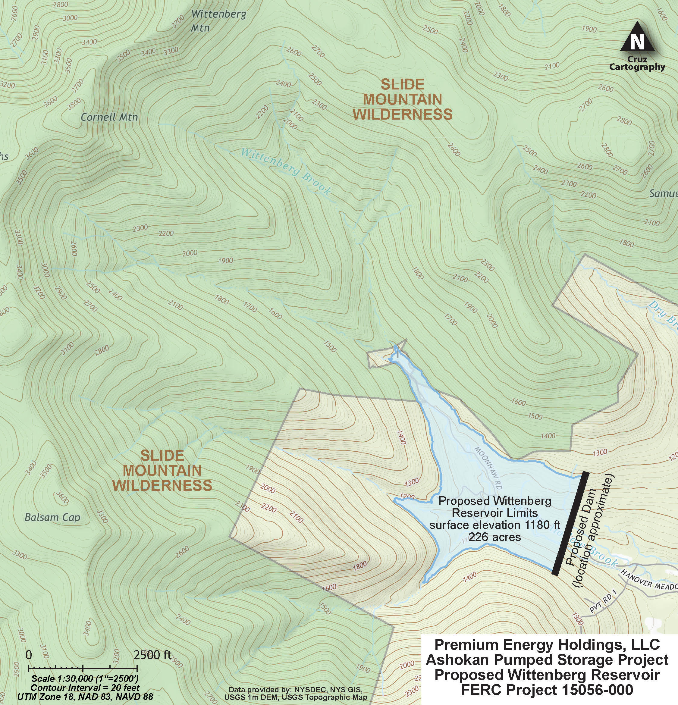 Map of proposed dam and resulting flooding from proposed power plant