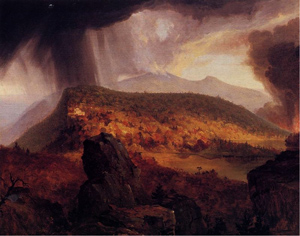 painting of a thunderstorm over the mountains