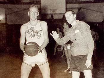 CCNY star Bernie Fliegel with legendary CCNY Coach, Nat Holman