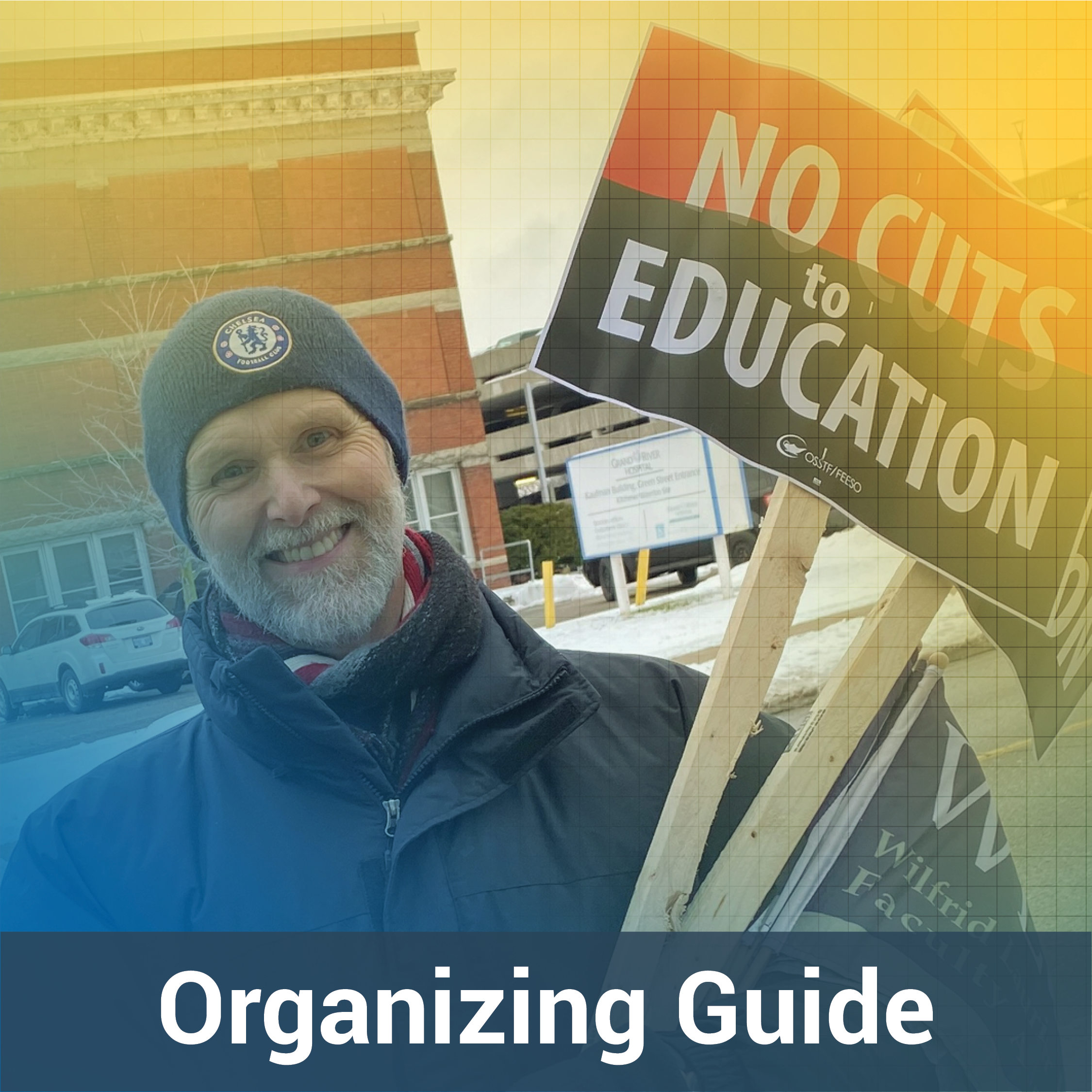 """A man stands in front of a building holding a sign that reads: """"No cuts to education""""."""
