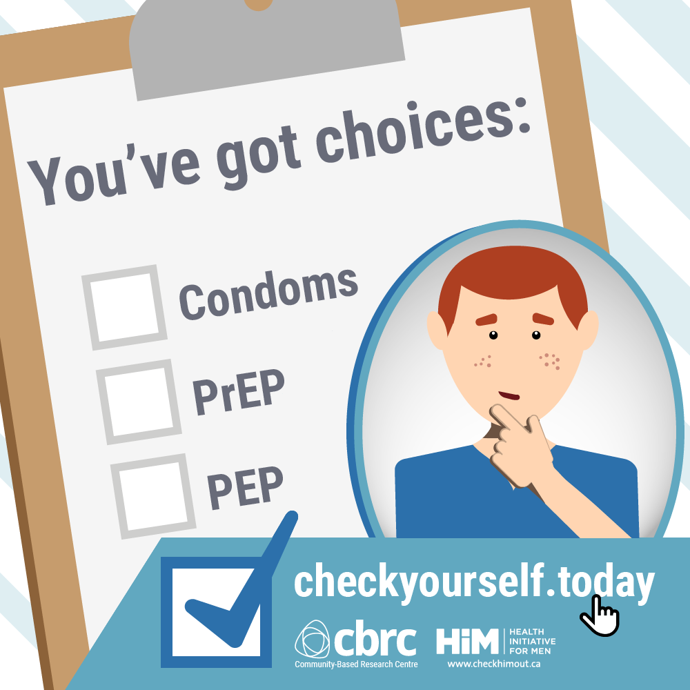 "Illustration of man considering a clipboard with the text: ""You've got choices: Condoms, PrEP, PEP"""