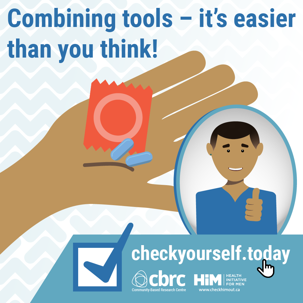 "Illustration of a hand holding a condom package and two blue pills with the text: ""Combining tools - it's easier than you think!"""