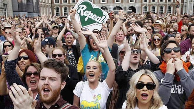 Crowd cheering when the Repeal 8th vote was won