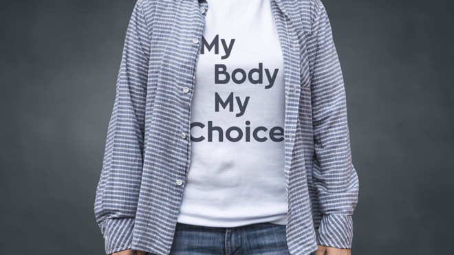 Person wearing My Body My Choice t-shirt