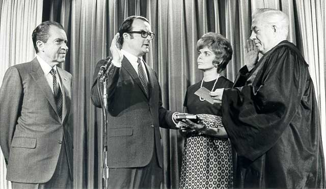 President Nixon attending Ruckelshaus's swear-in as EPA chief