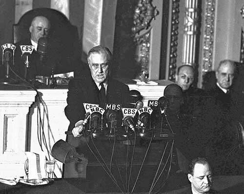 FDR, the day after the Pearl Harbor attack