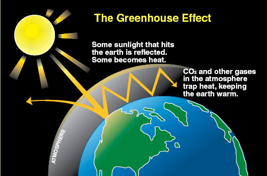 CO2 and other gases trap heat in the atmosphere