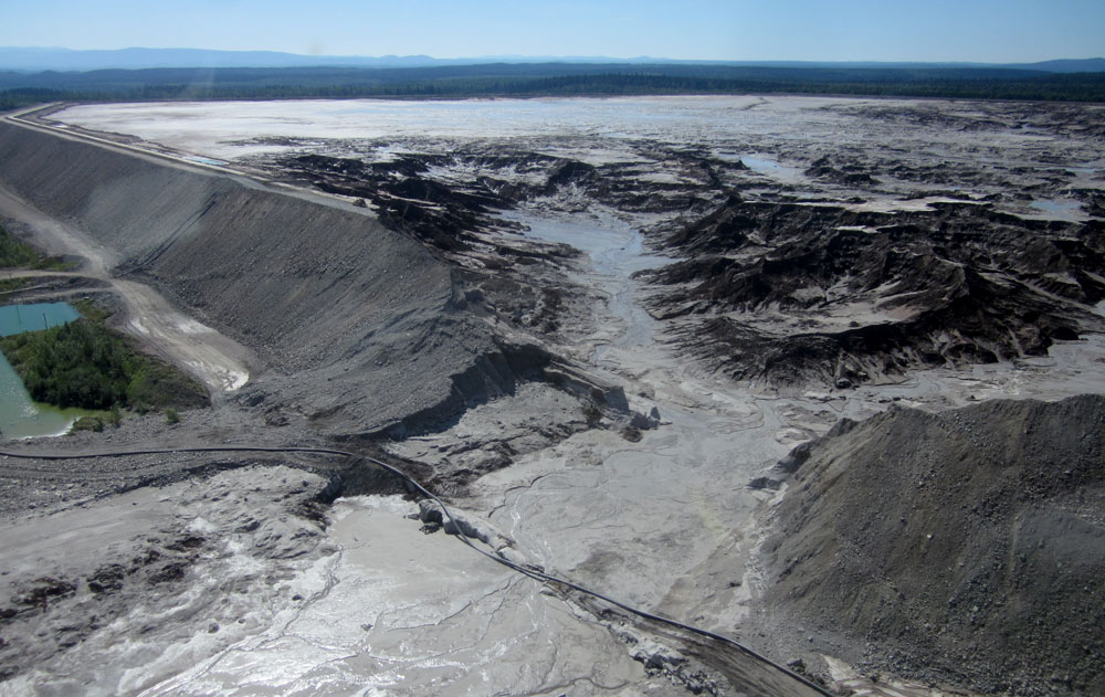 Collapsed Mt. Polley tailings dam wall, four days after the breach. Photo: Richard Holmes.