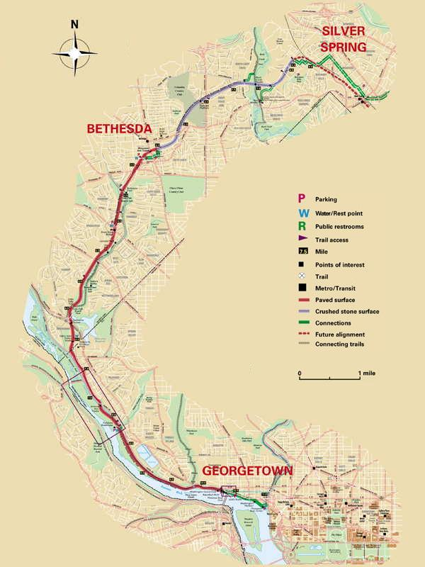 Map of Capital Crescent Trail