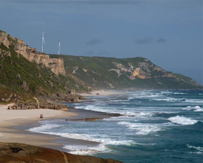 The turbines seen from Lights Beach.(Supplied: Denmark Community Windfarm Ltd)