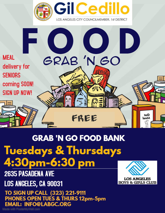 LA Boys and Girls Club Grab and Go Flyer