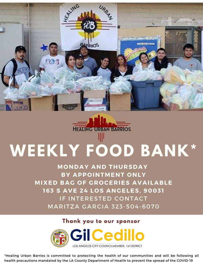 Healing Urban Barrios Weekly Food Giveaway