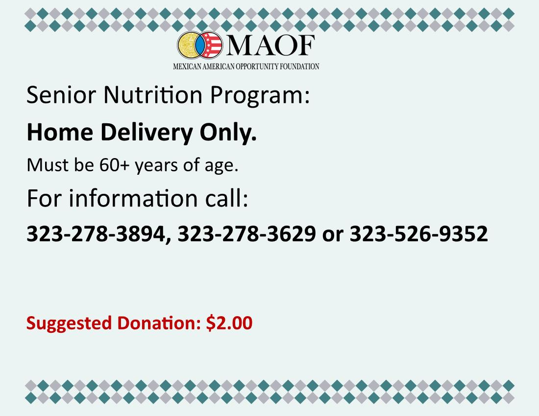 MAOF Senior Meal Delivery Program English