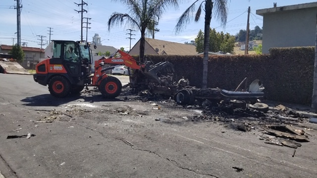 3570 Bushwick - Burned Motor Home in Glassell Park PARTIALLY CLEANED 5-5-2020