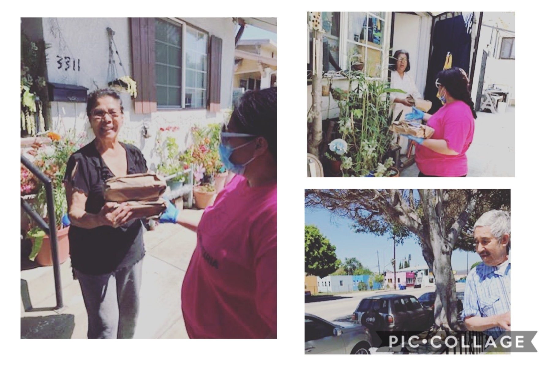 Accion Comunitaria and Tierra Caliente Restaurant delivered hot meals to seniors in Cypress Park 5-8-2020 Collage