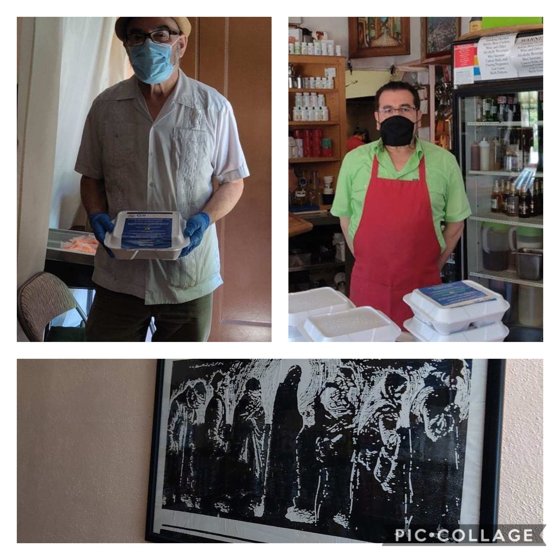 St. Vincent DePaul food bank in Highland Park with the help of Arroyo Arts Collective received Chico's hot meals 5-21-2020 COLLAGE