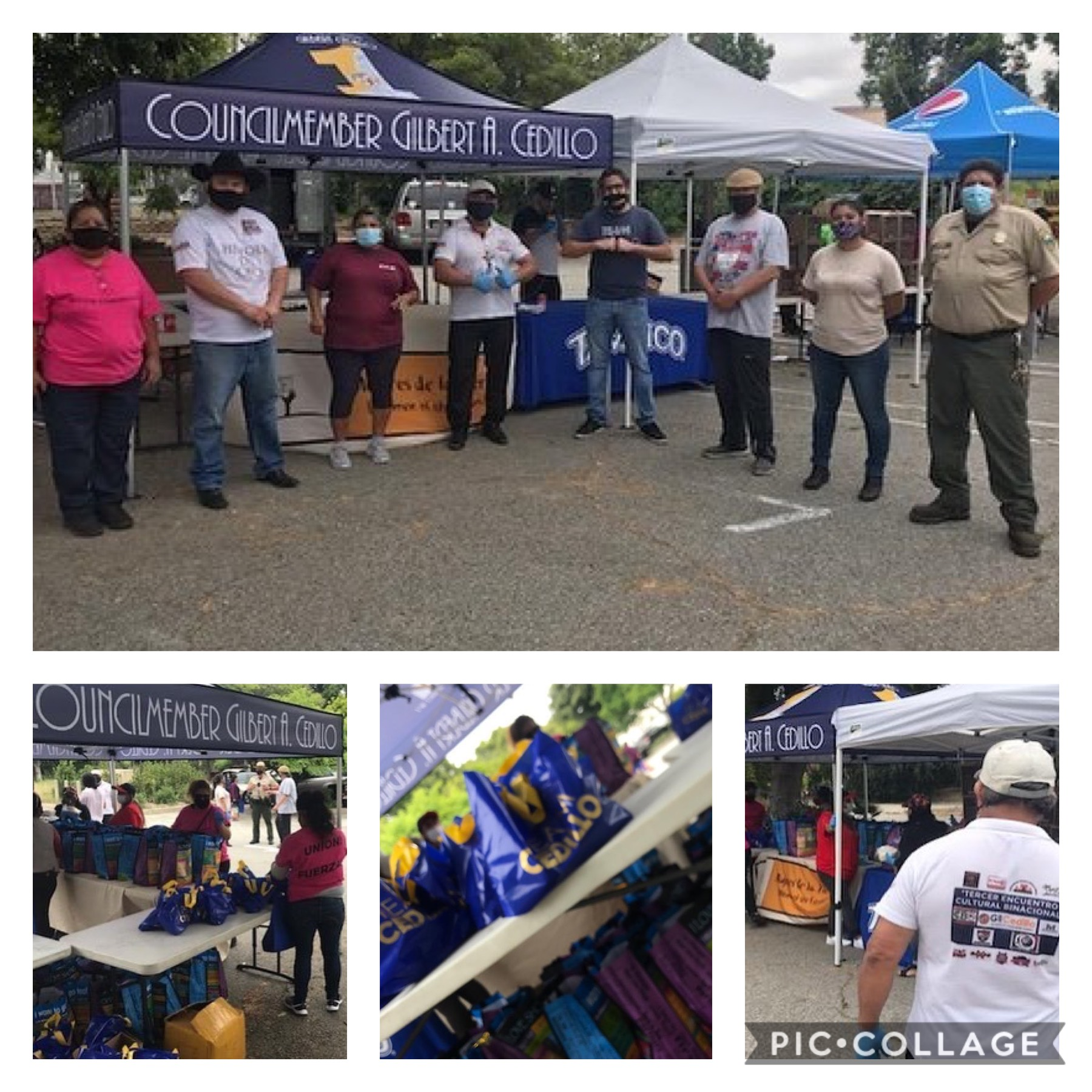 Anahuak, Mujeres de la Tierra, COFEM, Accion Comunitaria and CBO distributed groceries LA River Center in Cypress Park 5-29-2020 COLLAGE