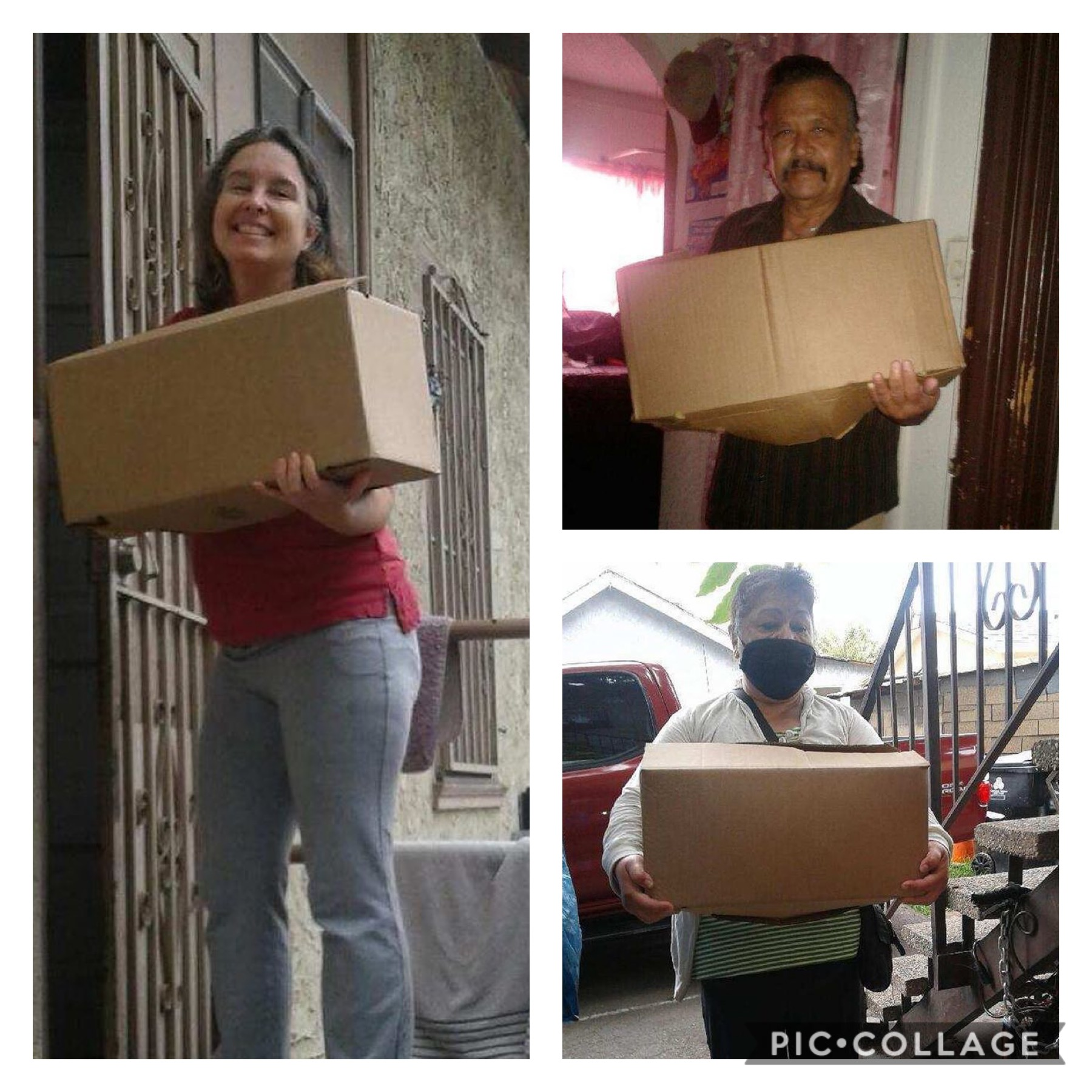 Albany Street neighbors receive boxes of groceries in Pico Union 5-29-2020 COLLAGE