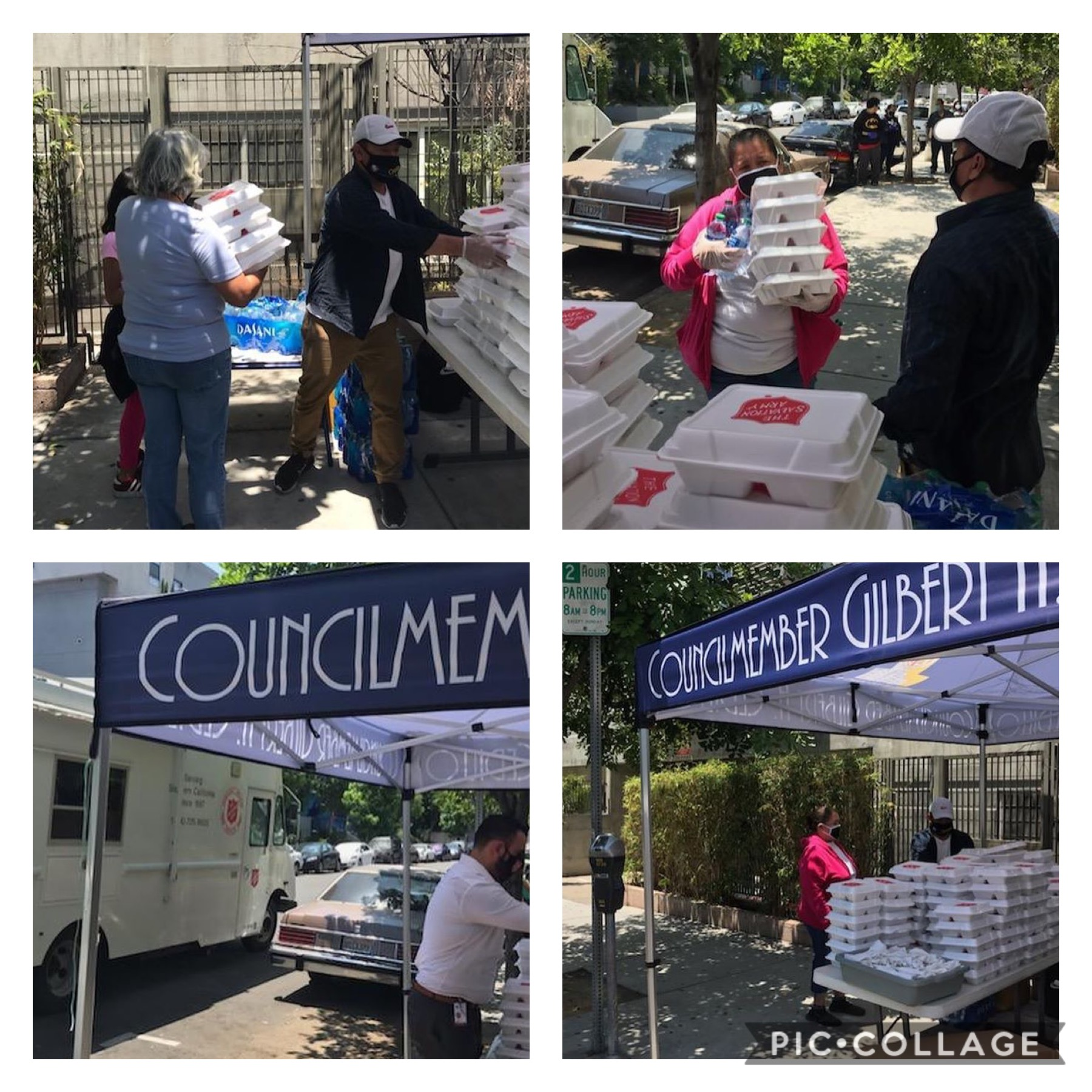 Red Shield Salvation Army and MacArthur Park Neighborhood Council hot meals to Coronado Street neighbors in Westlake 6-4-2020 COLLAGE
