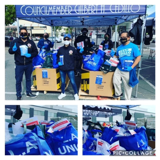 Team Cedillo joins Los Angeles Unions Walk-up Food Distribution 5-30-2020 COLLAGE