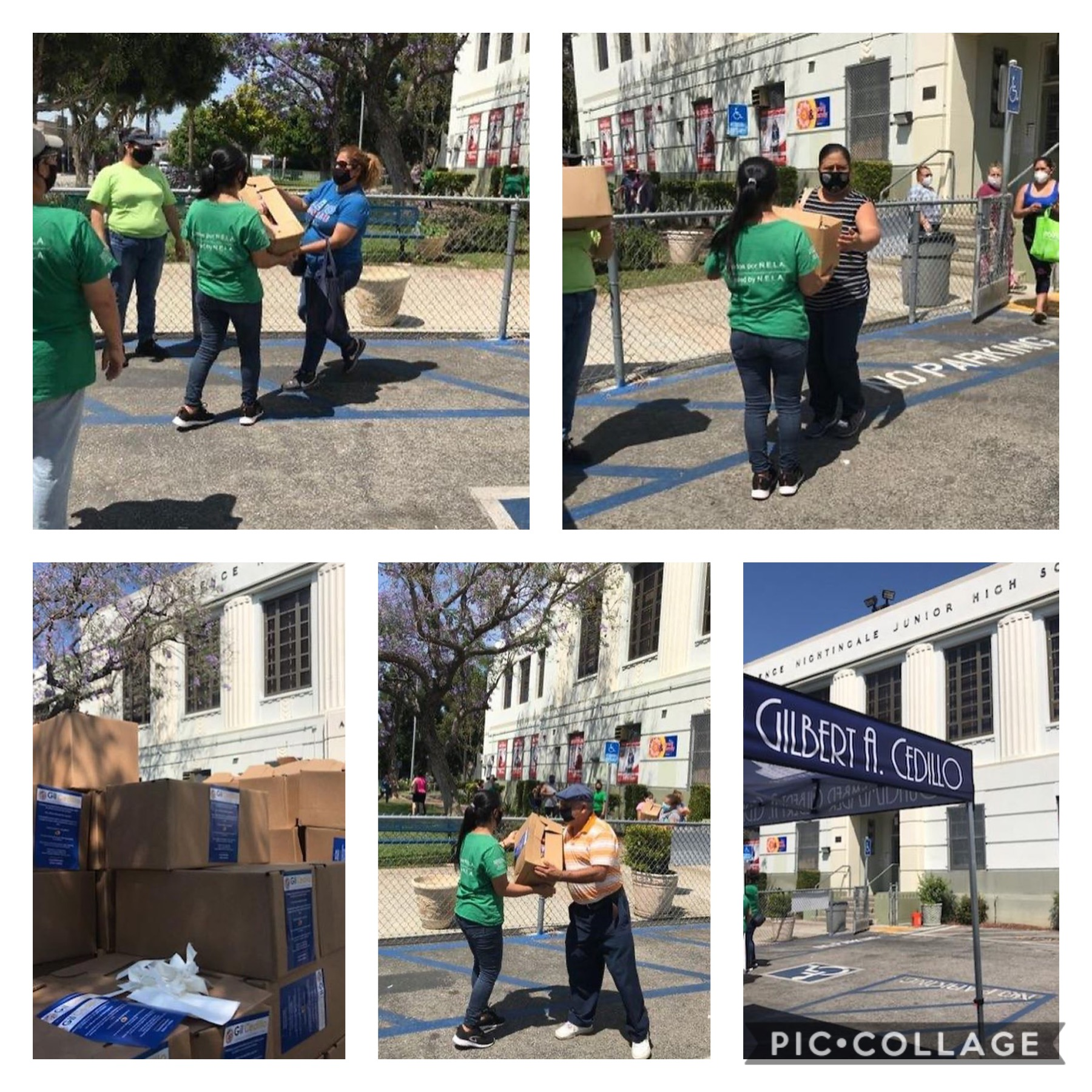 Unidos por NELA distributed produce to families at Florence Nightingale Middle School in Cypress Park 6-3-2020 COLLAGE