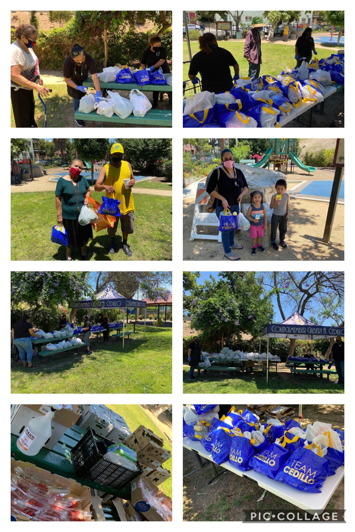 Madres al Servicio de la Comunidad LA, LA Neighborhood Land Trust distribute fruits & veggies in University Park 6-10-2020 COLLAGE