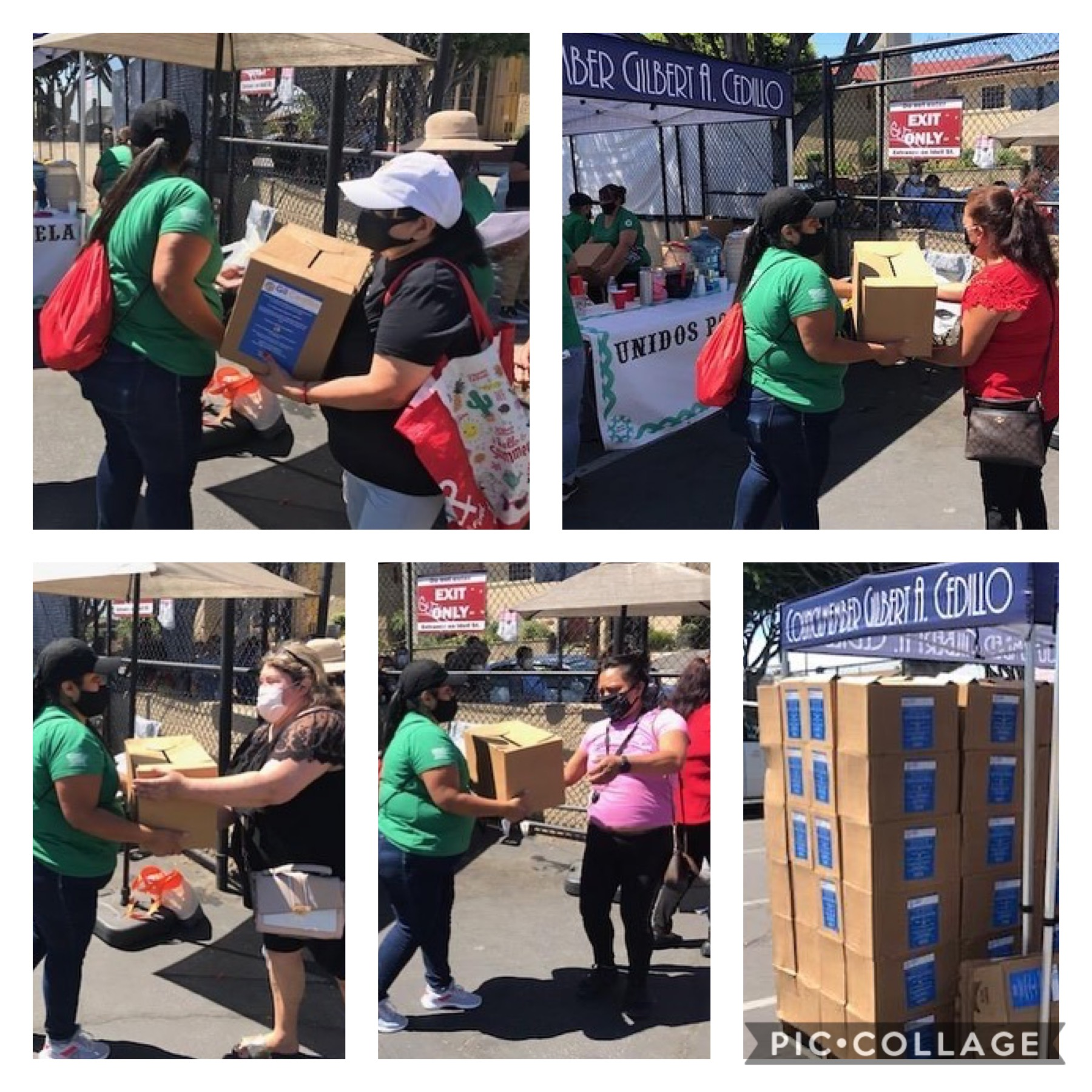 Unidos por NELA distributed boxes of produce to hundreds of families at Divine Savior Church in Cypress Park 6-10-2020 COLLAGE