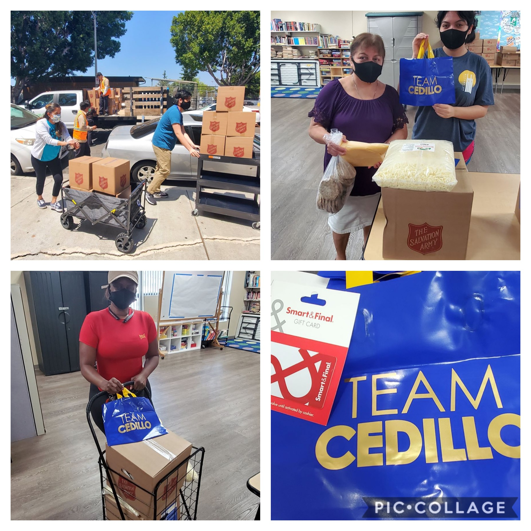Angelino Apartments Residents receive 1,500 pounds of food, $20 Smart & Final gift cards and 100 hot meals 6-16-2020 COLLAGE