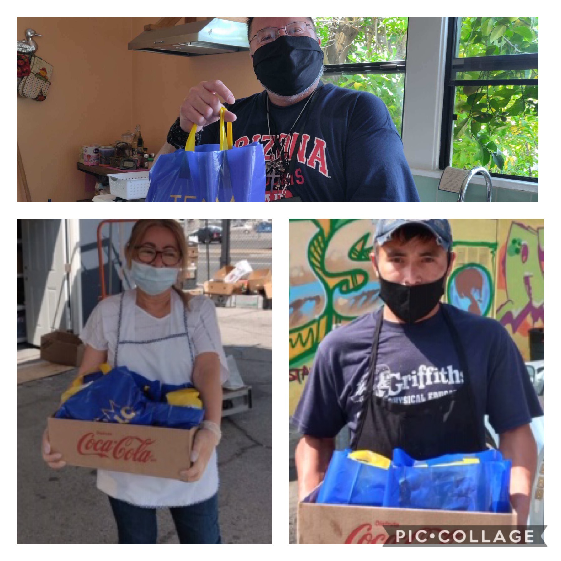 Iglesias Pentecostal and St. Ignatius – St Vincent with Arroyo Seco Arts Collective assist receive groceries & Chico's Meals 6-12-2020 COLLAGE
