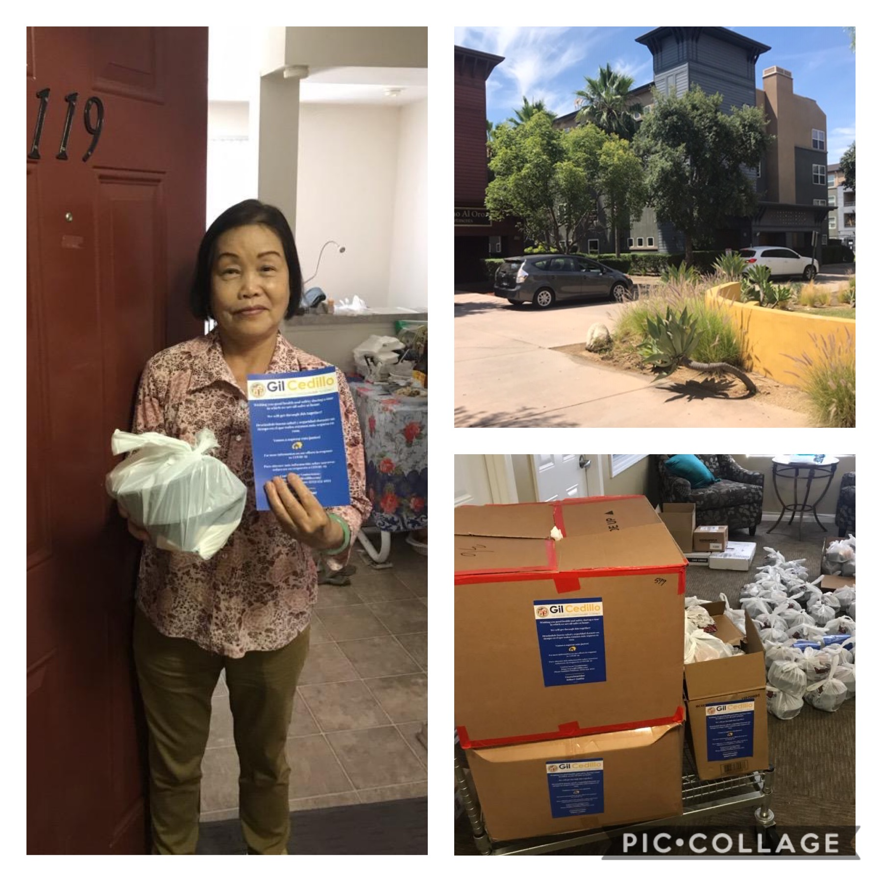 KYCC and Woody's Korean BBQ, distributed hot meals to seniors at Camino al Oro Apartments in Lincoln Heights 6-12-2020 COLLAGE