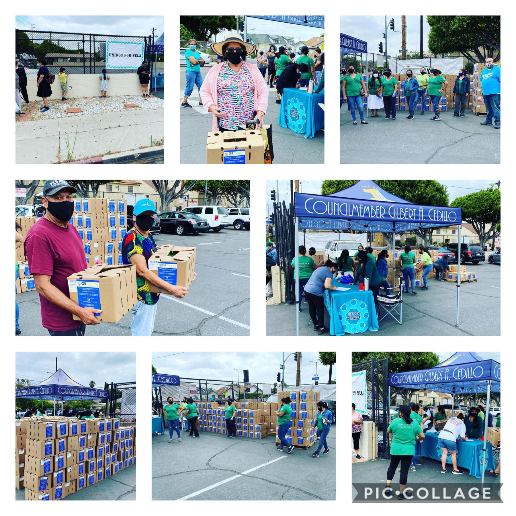 Unidos Por NELA and Team Cedillo distributed boxes of vegetables to hundreds of families 6-17-2020 COLLAGE