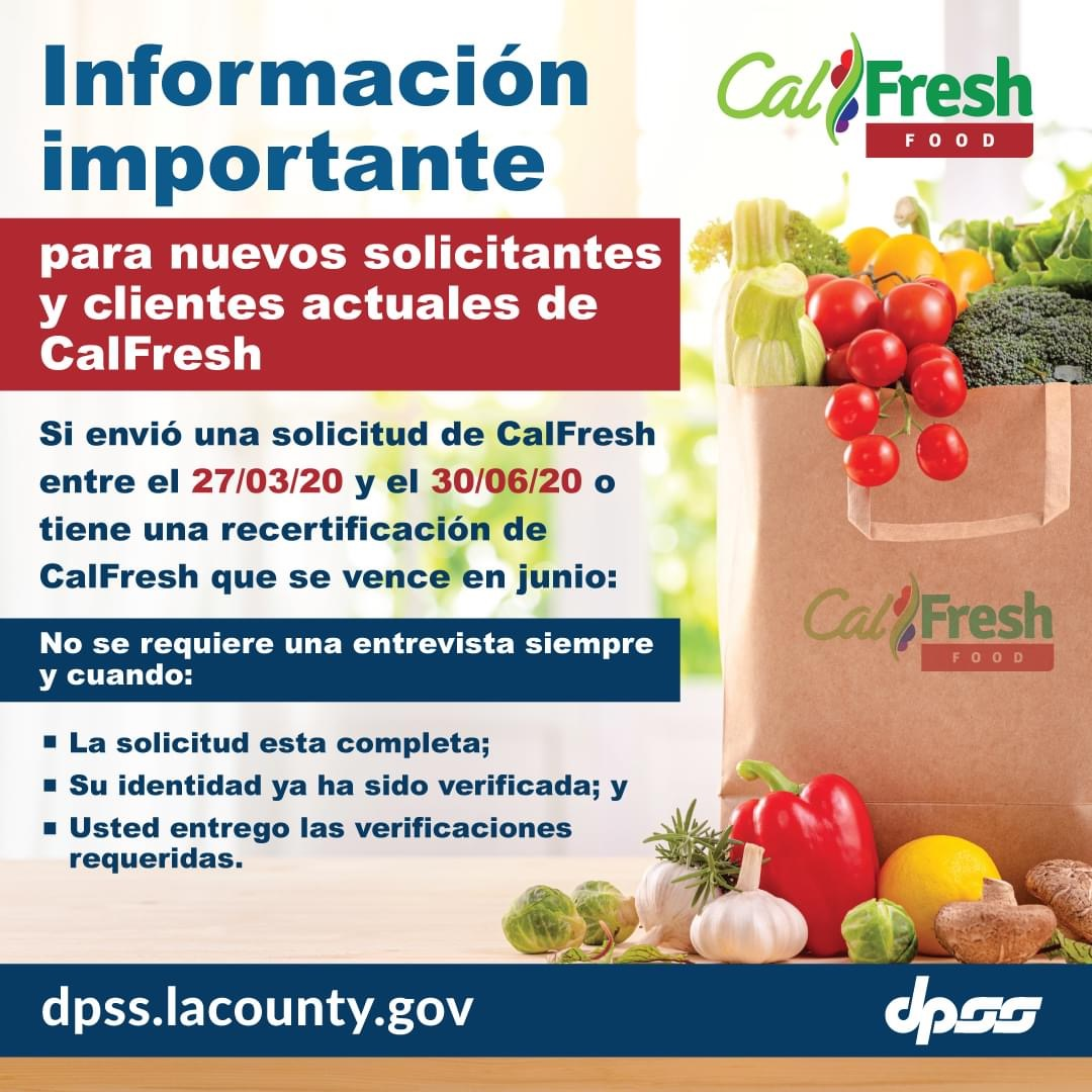 CalFresh No Interview Required if applied 3-27-2020 to 6-30-2020 SPANISH