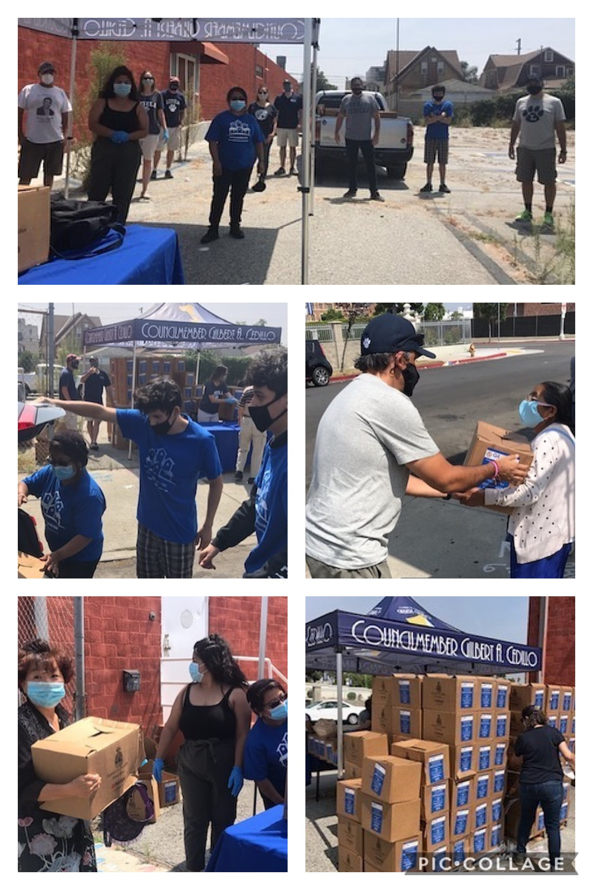 Loyola High School and Catalina Walton Neighborhood Association distributed produce boxes to families in Harvard Heights 6-25-2020 COLLAGE