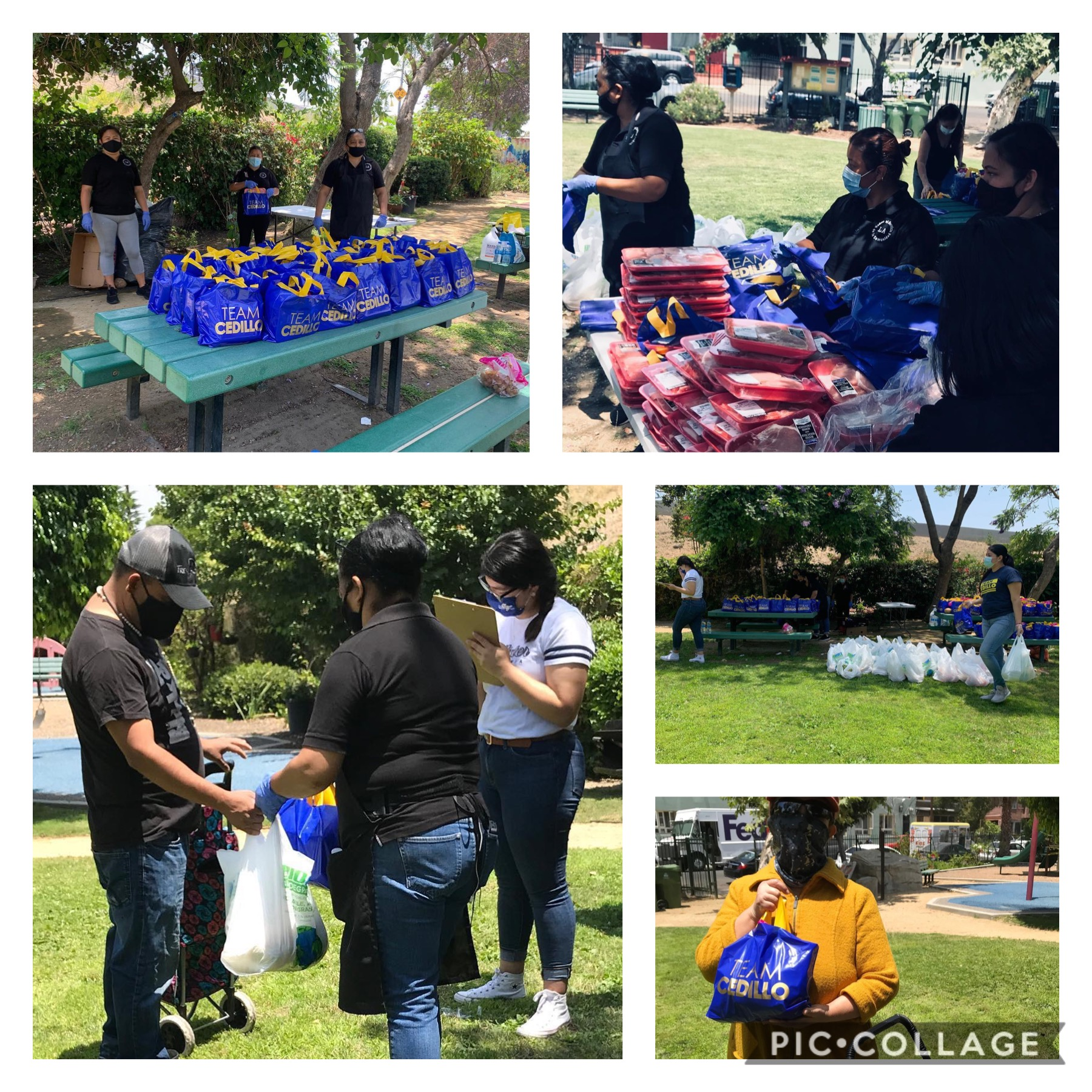 Madres al Servicio de la Comunidad, LANeighborhood Land Trust &  LA Salvation Army distributed fresh fruits and vegetables in University Park 6-24-2020 COLLAGES