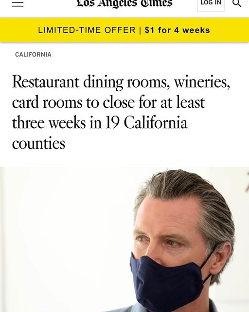 Governor Newsom Wearing Mask Photo - LA Times 7-1-2020