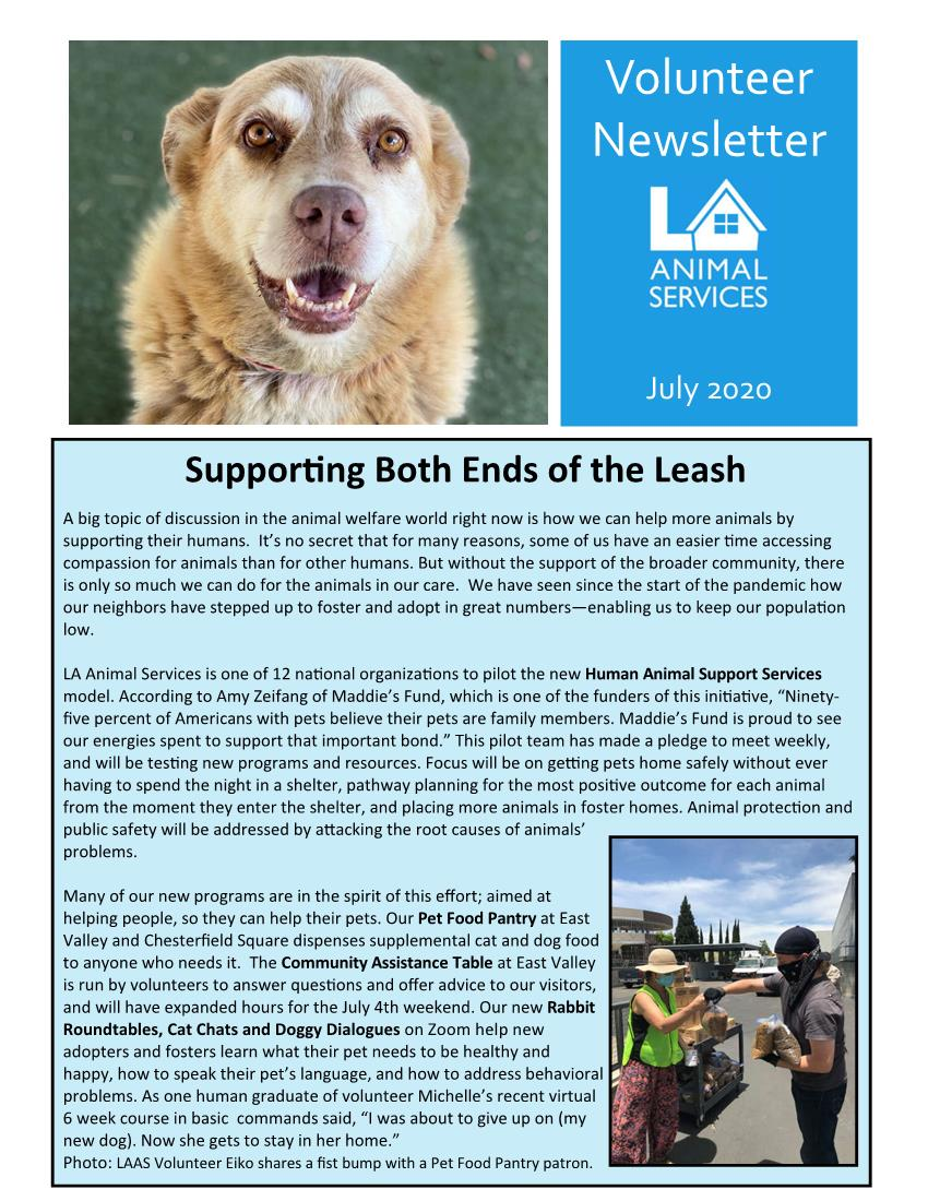 July 2020 LAAS Volunteer Newsletter Page 1