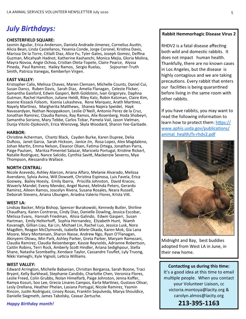 July 2020 LAAS Volunteer Newsletter Page 5