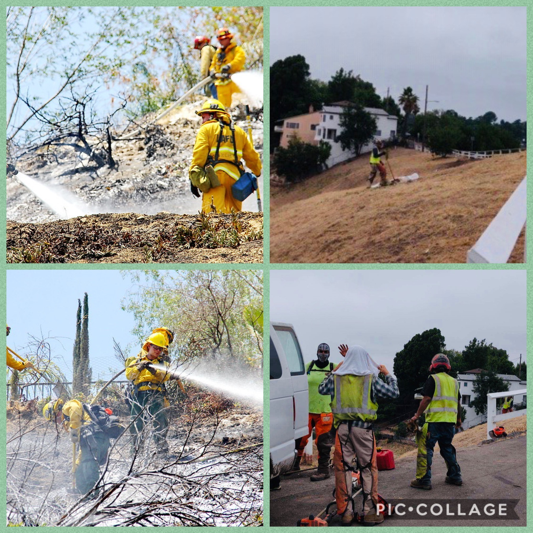 LACC clearing brush on Kite Hill in Mt Washington 7-1-2020 & Sun Valley Fire 7-1-2016 COLLAGE