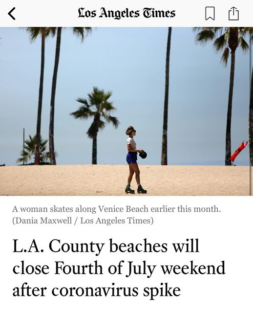 LA Times Photo - Beach 6-29-2020 Photo Credit Dania Maxwell