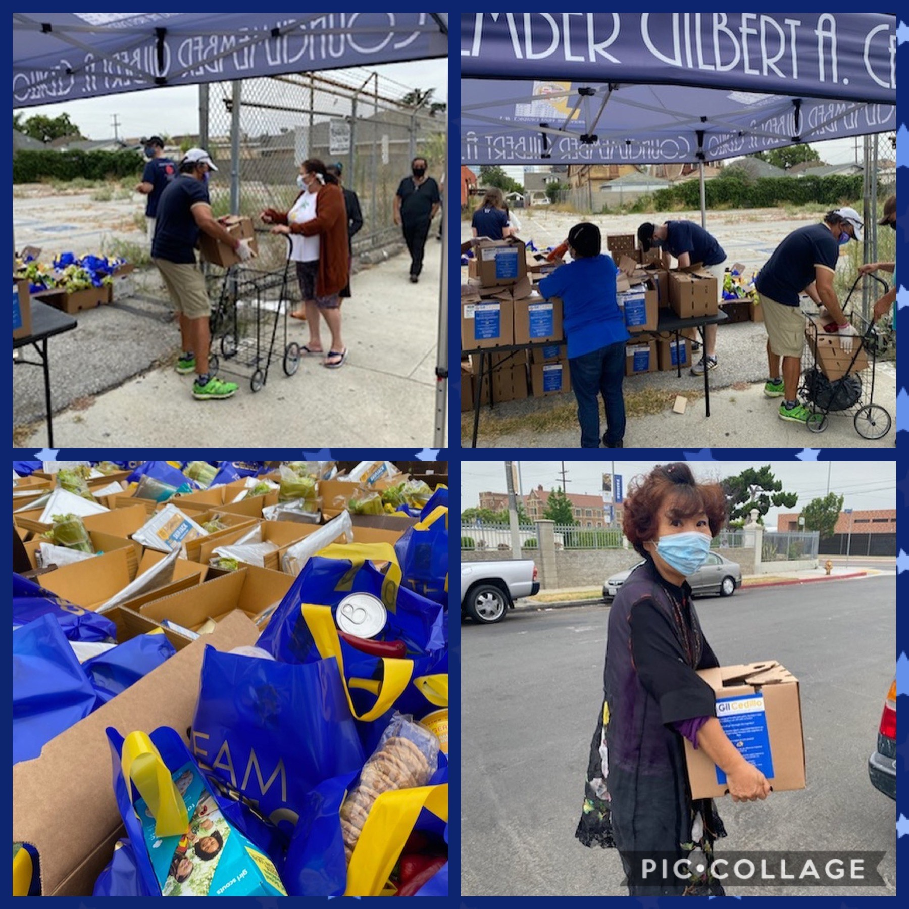 Loyola Hi School & Catalina Walton Neighborhood Assoc distributed groceries to hundreds of neighbors in West Adams 7-1-2020 COLLAGE