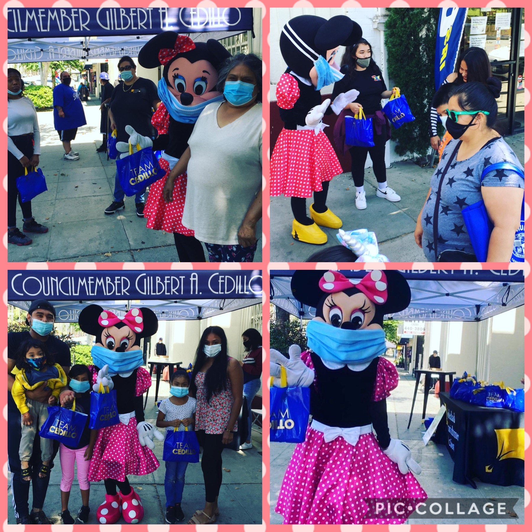 SEA and Team Cedillo distributed food in Lincoln Heights with a little help from Minnie Mouse 6-30-2020 COLLAGE