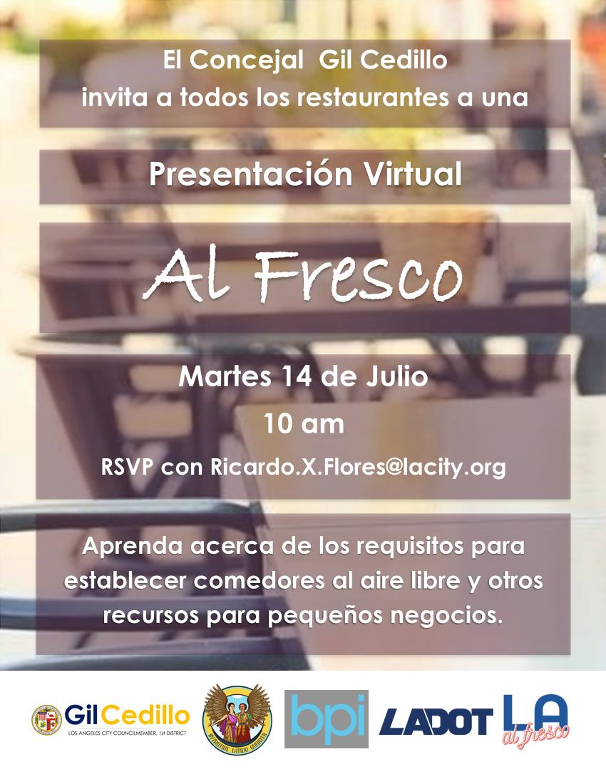Al Fresco Virtual Presentation Flyer 7-14-2020 Spanish